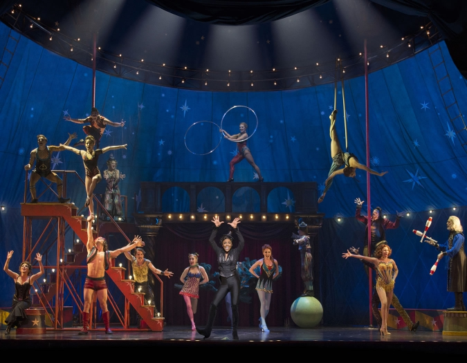 <em>Pippin</em> at Broadway's Music Box Theatre, NYC. Pictured: The cast of <em>Pippin</em> performs
