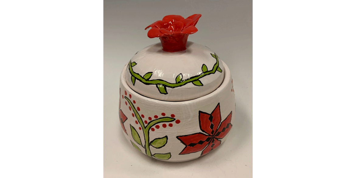 Etna Bano, Lidded Flower Jar. Ceramics. Barron Collier High School, Grade 10. Art Teacher: Leslie Loughran.