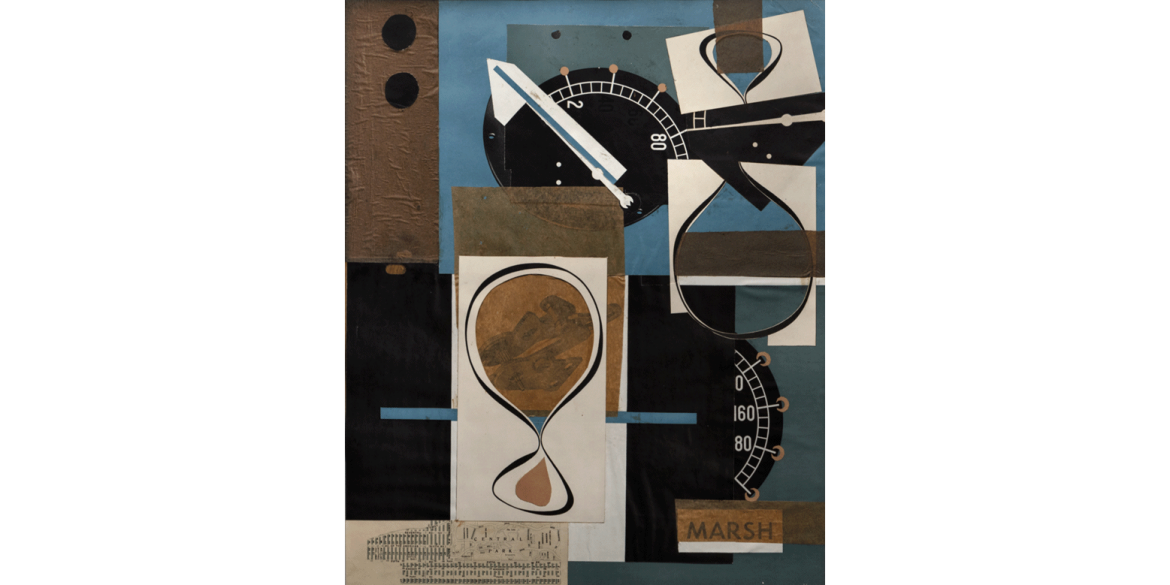 Esphyr Slobodkina (Russian-American, 1908-2002). Heart of Time, 1941. Collage on board. 17 x 13 1/2 inches. Artis—Naples, The Baker Museum. 2000.15.215. Museum purchase from the collection of Ahmet Ertegün. © Courtesy of the Slobodkina Foundation.