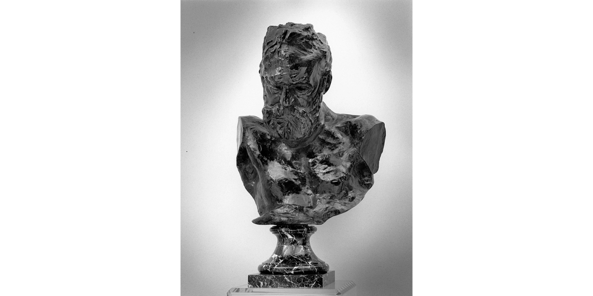 Auguste Rodin, Heroic Bust of Victor Hugo, edition 7/12. Modeled 1890-97 or 1901-02/Musée Rodin cast in 1981 by Coubertin Foundry. Bronze. 29 1/4 x 23 1/2 x 21 1/4 inches. Lent by Iris Cantor.
