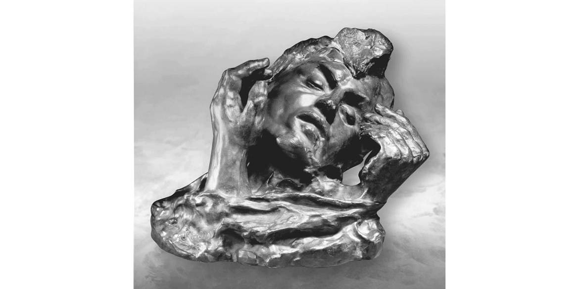 Auguste Rodin, Head of Shade with Two Hands, edition 2/unknown. Modeled ca. 1910/cast date unknown; cast by Alexis Rudier Foundry. Bronze. 7 5/8 x 10 3/4 x 8 1/8 inches. Lent by Iris & B. Gerald Cantor Foundation.