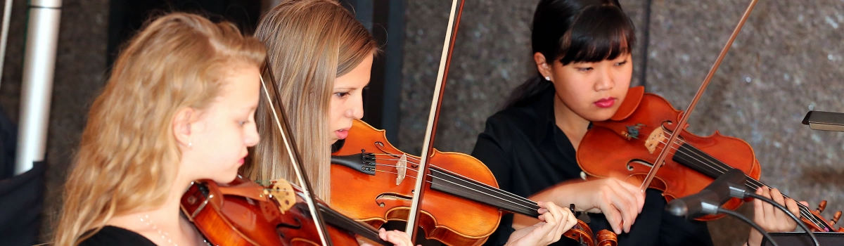 Image of student musicians of the Naples Philharmonic Youth Orchestra