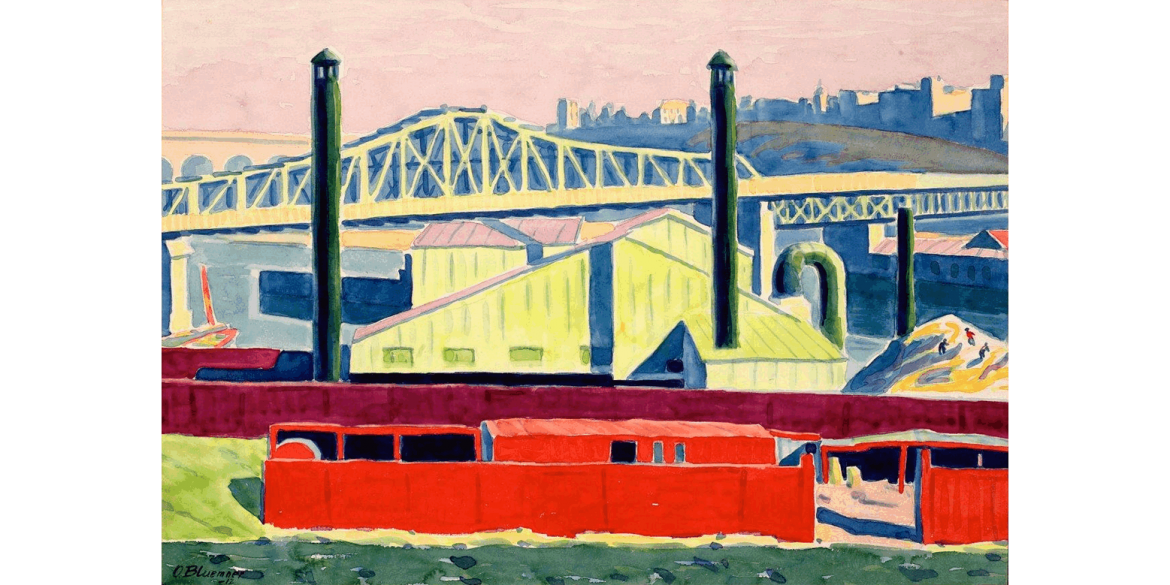 Oscar Bluemner (German-born American, 1867-1938). Harlem River, 1912. Watercolor on paper, 14 x 20 inches. Artis—Naples, The Baker Museum. 2000.15.012. Museum purchase from the collection of Ahmet Ertegün. © Artist or artist's estate.