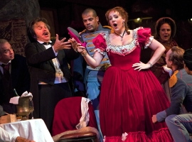 Image of La Boheme on stage during performance