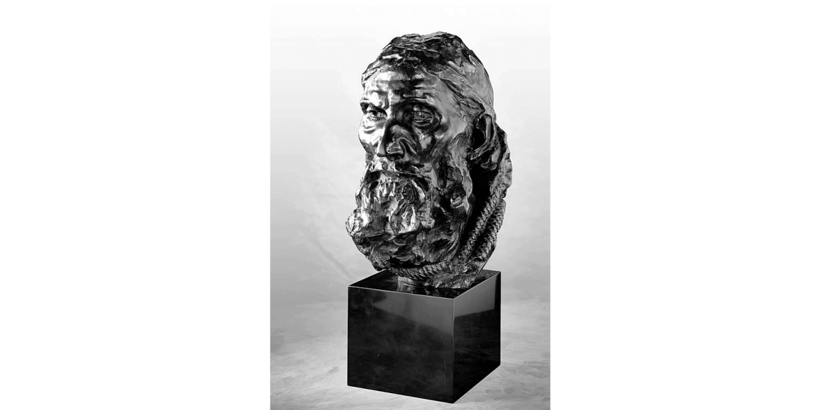 Auguste Rodin, Final Head of Eustache de St. Pierre, edition 2/4. Modeled ca. 1886/Musée Rodin cast in 1995 by Godard Foundry. Bronze. 16 1/4 x 9 5/8 x 11 1/2 inches. Lent by Iris & B. Gerald Cantor Foundation.