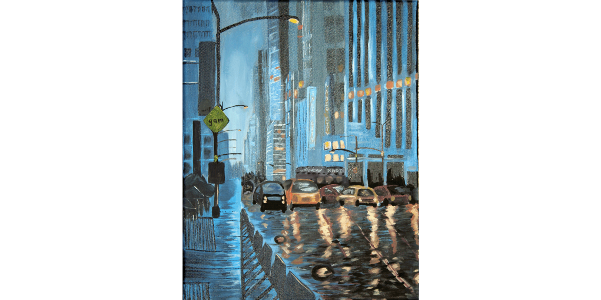 Gisselle Abraham, Cityscape. Acrylic on canvas. Marco Island Academy, Grade 11. Art Teacher: Rob Eder.