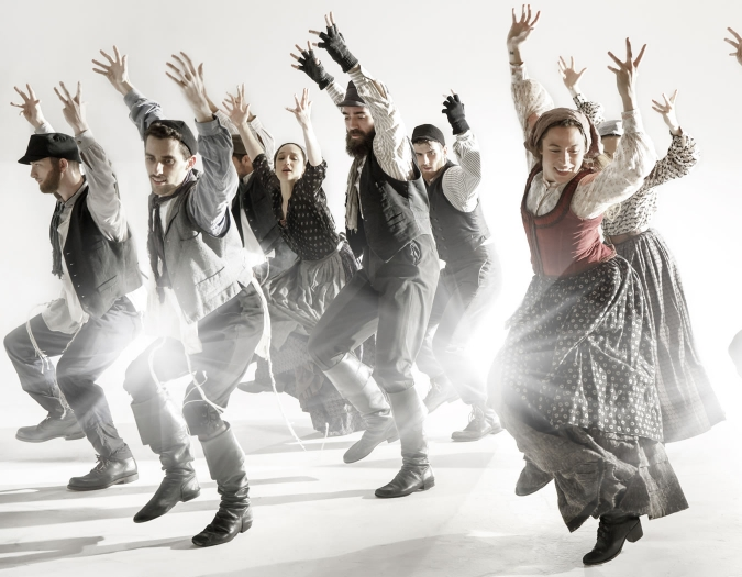 Image of performers on stage in the Broadway production of Fiddler on the Roof