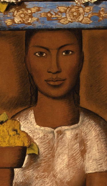 Alfredo Ramos Martínez (Mexican, 1871-1946). Vendedora de flores (Flower Seller), ca. 1940. Gouache and charcoal on buff paper laid down on gypsum board, 72 x 46 inches. Artis—Naples, The Baker Museum. 2002.2.053. Gift of Harry Pollak. The Alfredo Ramo