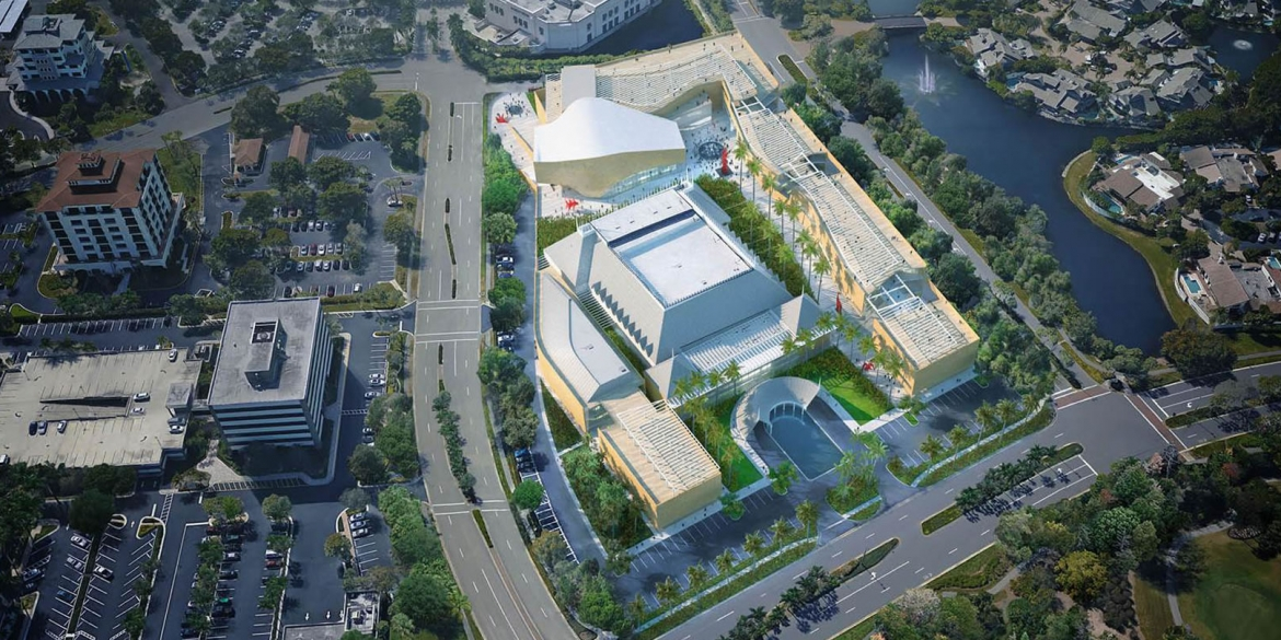 Image of artistic rendering of the possible aerial view of campus after repair and expansion of The Baker Museum and broader Artis—Naples campus
