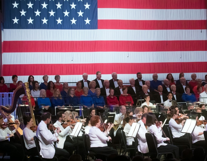 Image of the Naples Philharmonic and the Naples Philharmonic Chorus on stage during performance