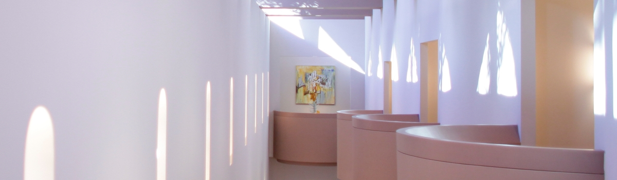 Image of artistic architectural perspective of lighting a wall structures within Hayes Hall