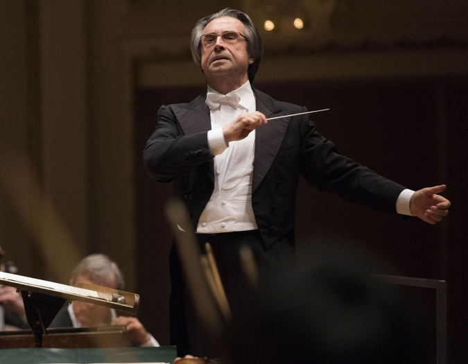 Image of Ricardo Muti, conductor of the Chicago Symphony Orchestra, on stage during performance