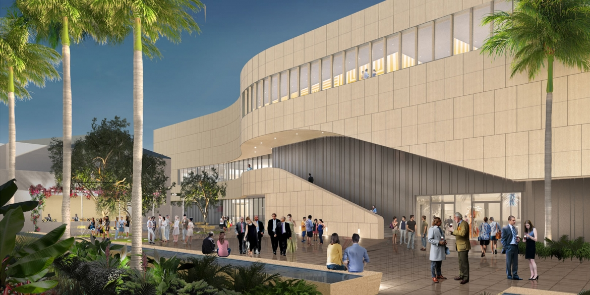 Image of artistic rendering of the possible view enjoyed by patrons after repair and expansion of The Baker Museum