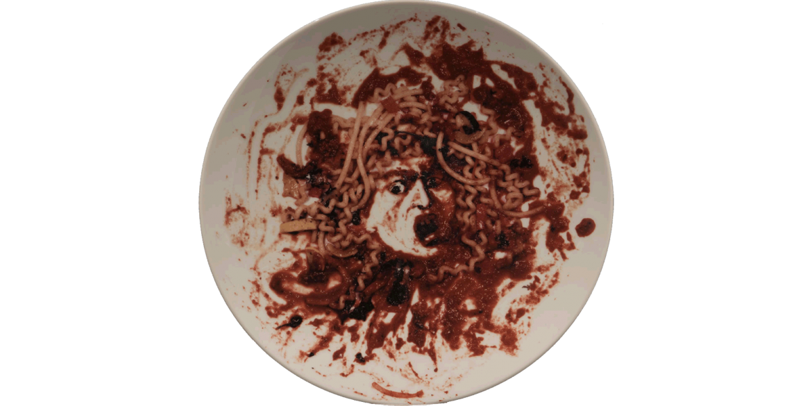 Vik Muniz (Brazilian, born 1961). Caravaggio's Medusa (1590), 1999. Digital print on porcelain plate, 12 1/2 x 12 1/2 x 1 inches. Artis—Naples, The Baker Museum. 2016.2.311. Bequest of Olga Hirshhorn. © 2020 Vik Muniz / Licensed by VAGA at Artists Righ