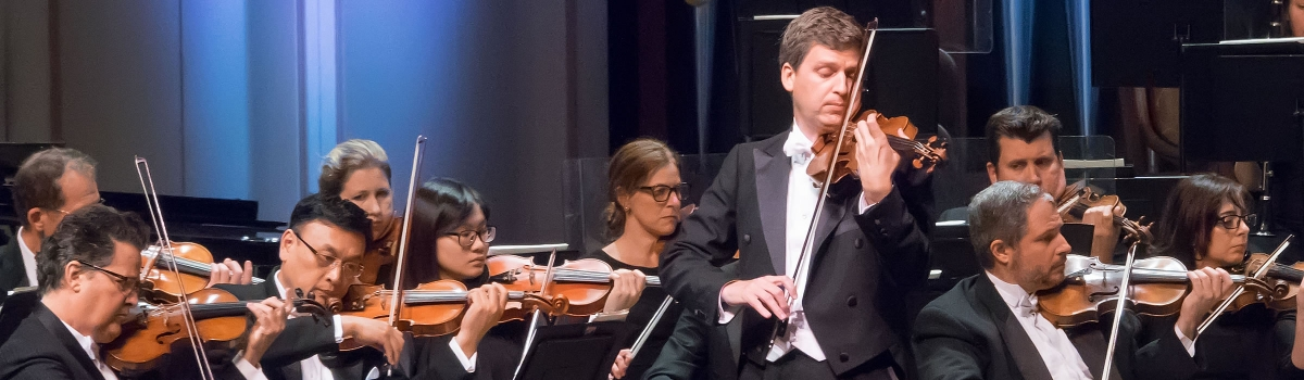 Image of James Ehnes, violin, performing on stage with the Naples Philharmonic