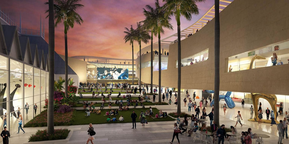 Image of artistic rendering of the possible view enjoyed by patrons after repair and expansion of The Baker Museum and broader Artis—Naples campus