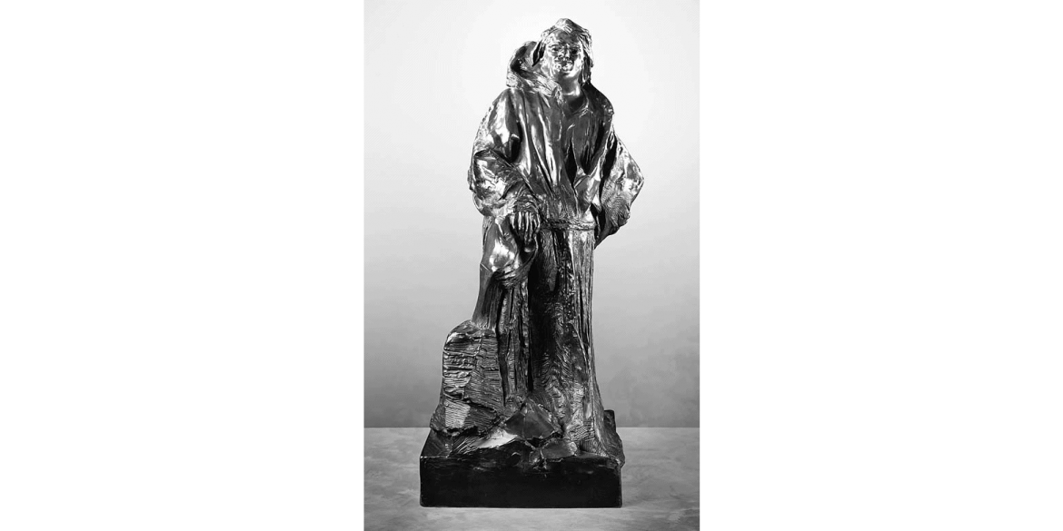 Auguste Rodin, Balzac in Dominican Robe, edition 9/unknown. Modeled 1893/Musée Rodin cast in 1981 by Georges Rudier Foundry. Bronze. 41 3/4 x 20 1/8 x 20 inches. Lent by Iris Cantor.