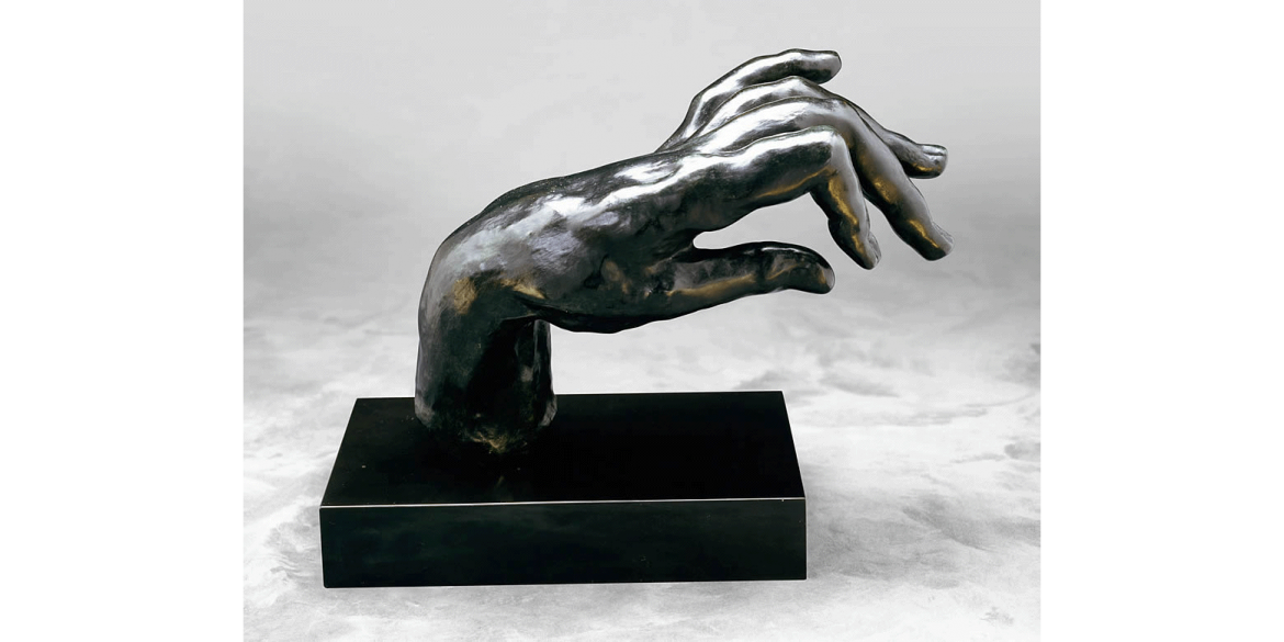 Auguste Rodin, Large Hand of a Pianist, edition 9/12. Modeled 1885/Musée Rodin cast in 1969 by Georges Rudier Foundry. Bronze. 7 1/4 x 10 x 4 7/8 in. Lent by Iris & B. Gerald Cantor Foundation.