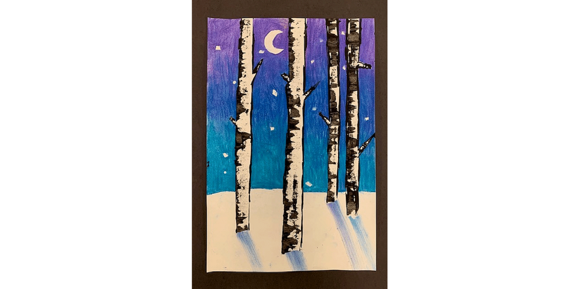 Victoria Vultur, Birch Trees. Pastel. Sea Gate Elementary, Grade 4. Art Teacher: Margaret Mankiewicz.