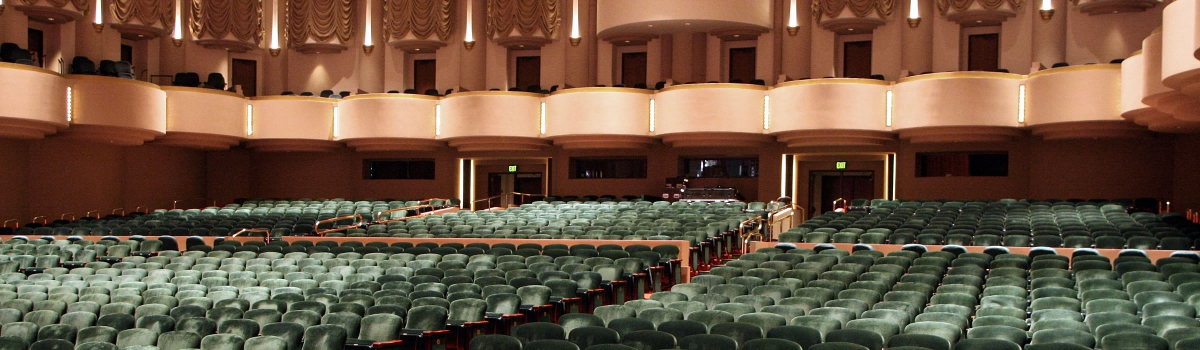 Image of the interior seating of Hayes Hall, including levels