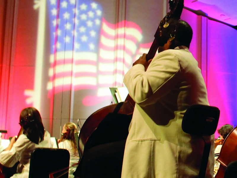 Image of the Naples Philharmonic on stage during a performance of Patriotic Pops