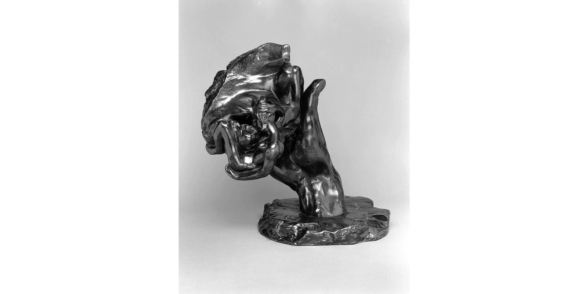 Auguste Rodin, Hand of God, edition unknown. Modeled in 1898/cast date unknown; cast by Alexis Rudier Foundry. Bronze. 7 5/8 x 10 3/4 x 8 1/8 inches. Lent by Iris Cantor.