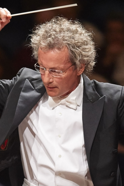 Image of Franz Welser-Möst, music director of the Cleveland Orchestra, on stage during performance