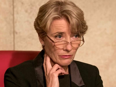 Image of Emma Thompson acting in a promotional still photograph from the movie The Children Act