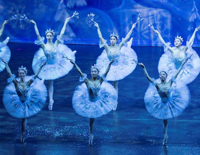 Image of the performers of the Moscow Ballet during a performance of the Nutcracker
