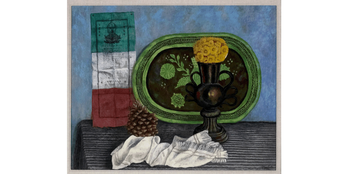Olga Costa (German-born Mexican-American, 1913-1994). Naturaleza muerta con objetos mexicanos (Still Life with Mexican Objects), 1944. Oil on canvas, 24 x 29 inches. Artis—Naples, The Baker Museum. 2002.2.017. Gift of Harry Pollak. © 2020 Artists Right
