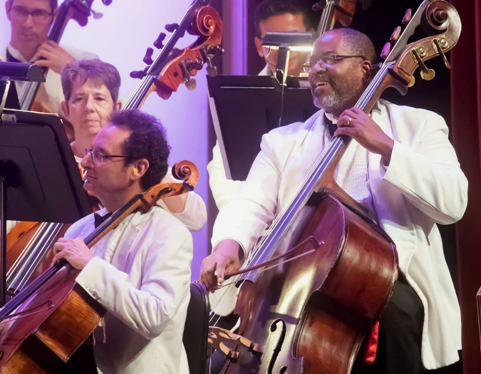 Image of members of the Naples Philharmonic on stage during a performance of pops music