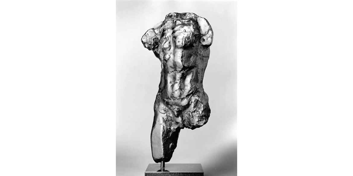 Auguste Rodin, Study for Torso of the Walking Man, edition 10/12. Modeled 1878-79/Musée Rodin cast in 1979 by Coubertin Foundry. Bronze. 20 1/2 x 10 3/4 x 8 inches. Lent by Iris & B. Gerald Cantor Foundation.