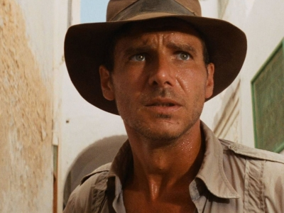 Image of a promotional still from the film Raiders of the Lost Ark