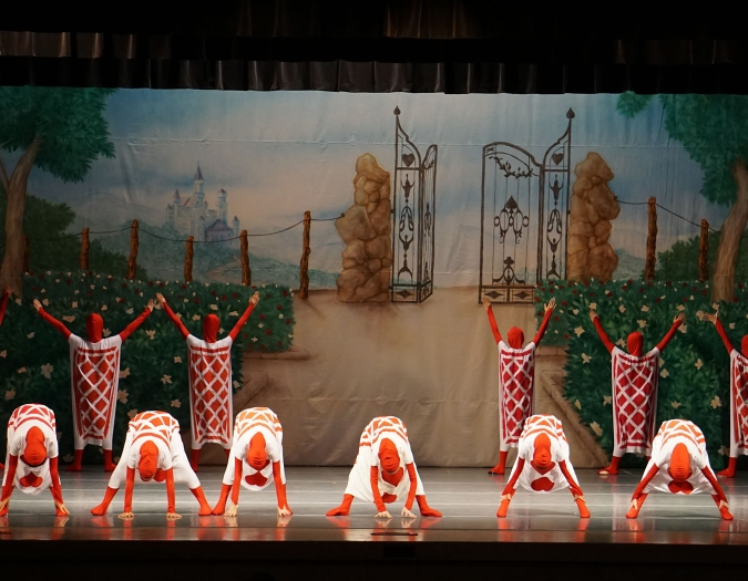 Image of the performers of the Naples Ballet during a performance of Alice in Wonderland