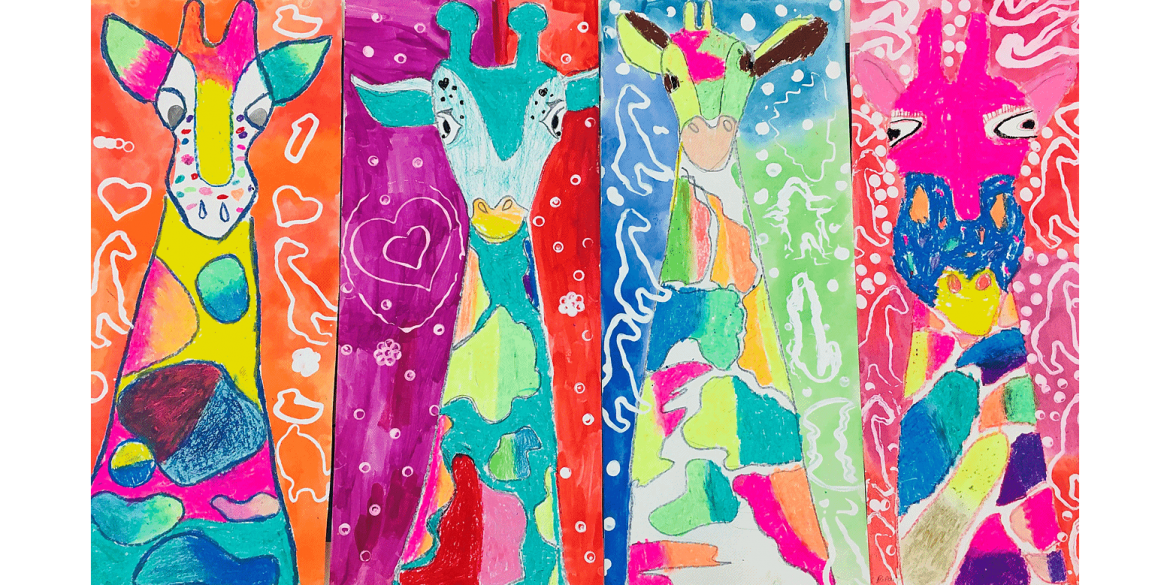Pilar Healey, Nico Rosa, Aimee Ho, Quinn Rexwinkle, Les Fauves Giraffes. Oil crayon and watercolor. St. Ann School, Grade 3. Art teacher: Christina Grün