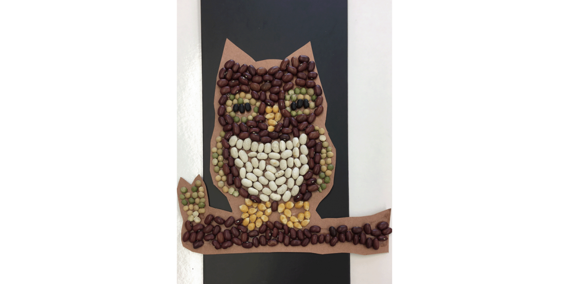 Addisyn Touchette, Owl on a Branch. Bean and seed mosaic. First Baptist Academy, Grade 3. Art Teacher: Linda Shaw.