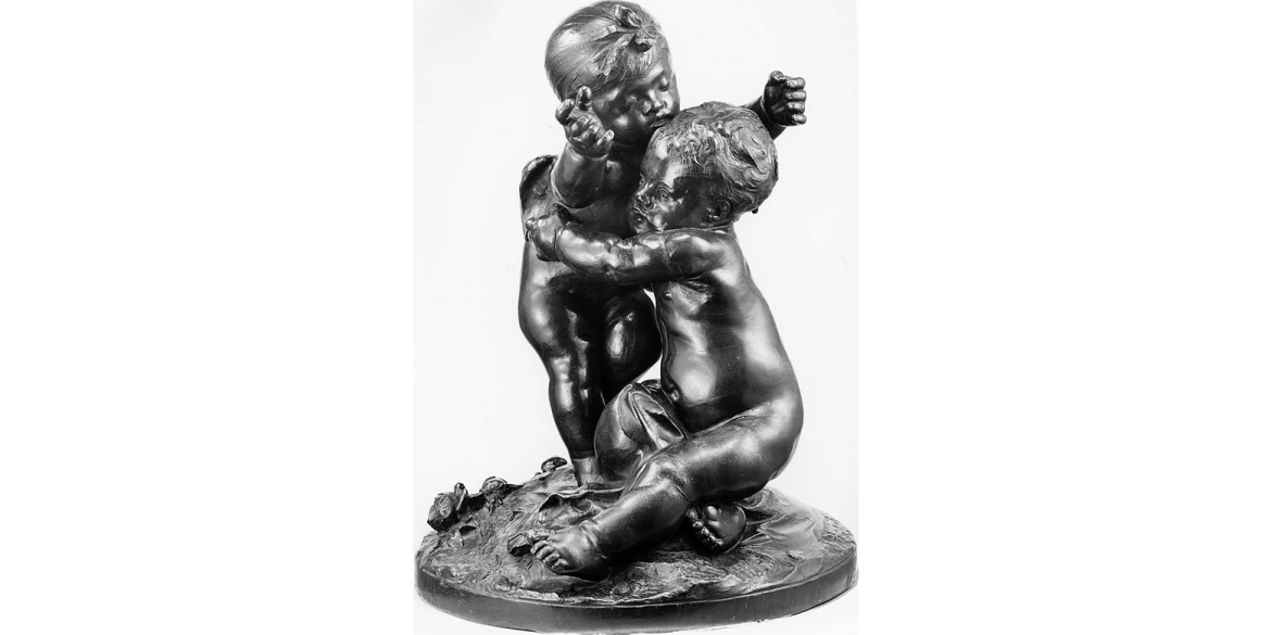 Auguste Rodin, Ixelles Idyll, edition 4/8. Modeled in plaster ca. 1876 and first cast in bronze in 1885/Musée Rodin cast in 1981 by Coubertin Foundry. Bronze. 21 x 14 5/8 x 14 5/8 inches. Lent by Iris & B. Gerald Cantor Foundation.
