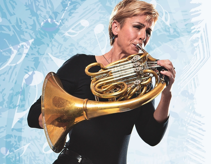 Image of artistic interpretation of a member of the Naples Philharmonic in musical celebration with brass instruments, as part of the Magic Carpet concert series