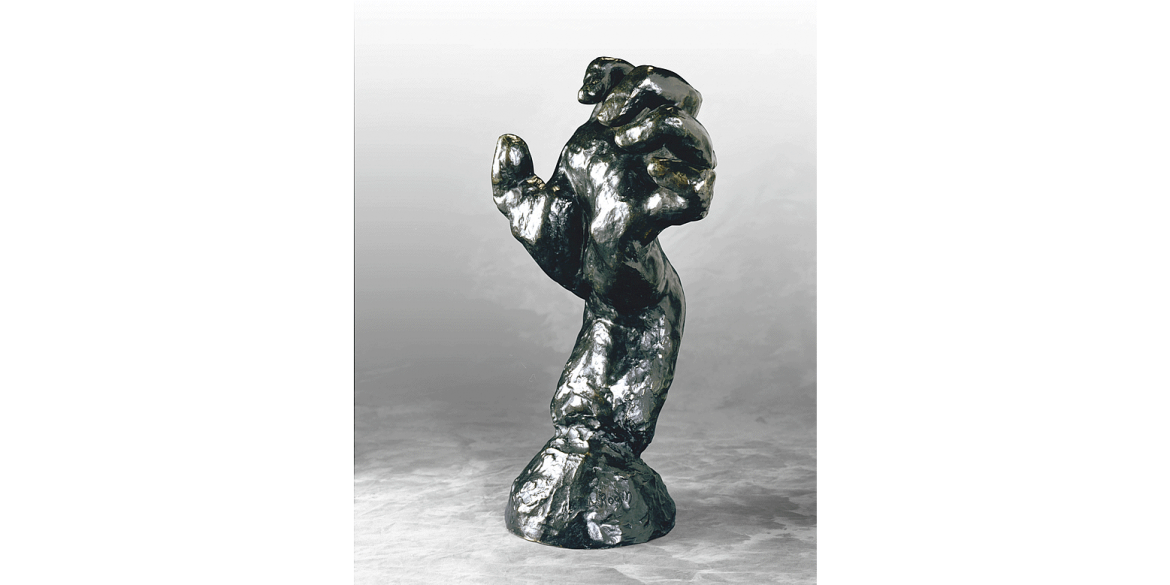 Auguste Rodin, Large Clenched Left Hand, edition 3/12. Modeled ca. 1885/Musée Rodin cast in 1966 by Georges Rudier Foundry. Bronze. 18 1/4 x 10 3/8 x 7 5/8 inches. Lent by Iris & B. Gerald Cantor Foundation.